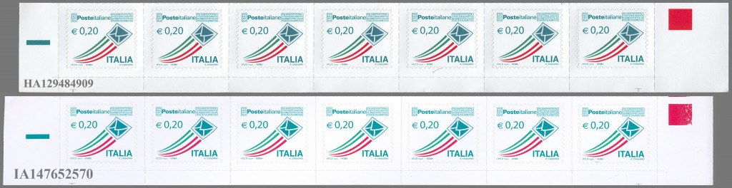 LE DUE TIRATURE DEL 20 CENT DI POSTA ITALIANA